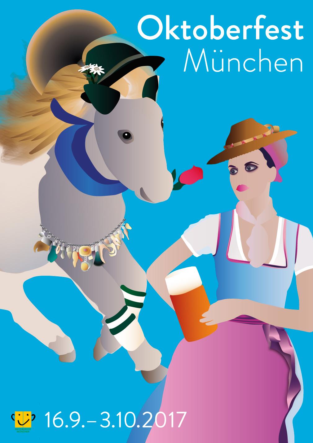 Wiesnplakat. Sie sehen den Entwurf des Wiesnplakat 2017, mit dem Marlene Kern sich am Wettbewerb 2017 der Stadt München beteiligte.