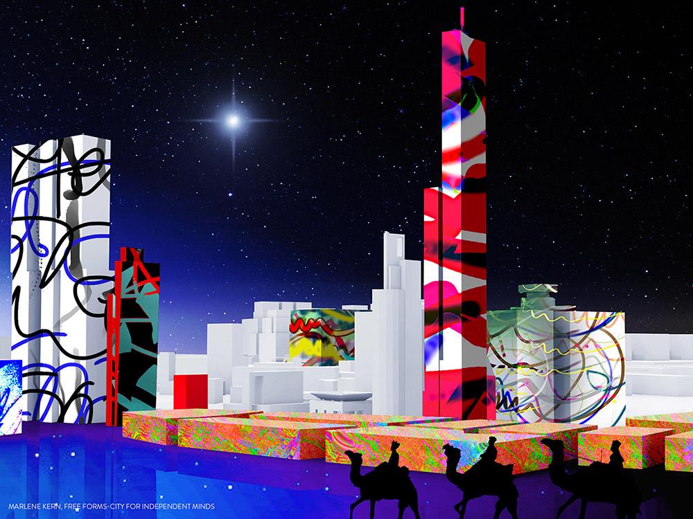 Besinnliche Weihnachten 2017! Sie sehen das Motiv Free Forms°-City mit Stern von Bethlehem und den drei Weisen in einer futuristischen Skyline. Die Fassaden der Free Forms°-City sind gestaltet mit Free Forms°-Designs.