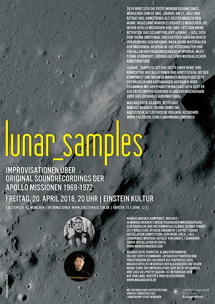Branding Design. Sie sehen die Einladung für die Konzertreihe »Lunar_samples, Improvisationen über original Soundrecordings der Apollo Missionen 1969-1972«. Die japanisch-münchnerische Pianiastin in einem Gemeinschaftsprojekt mit Markus München, Violonist und Komponist.