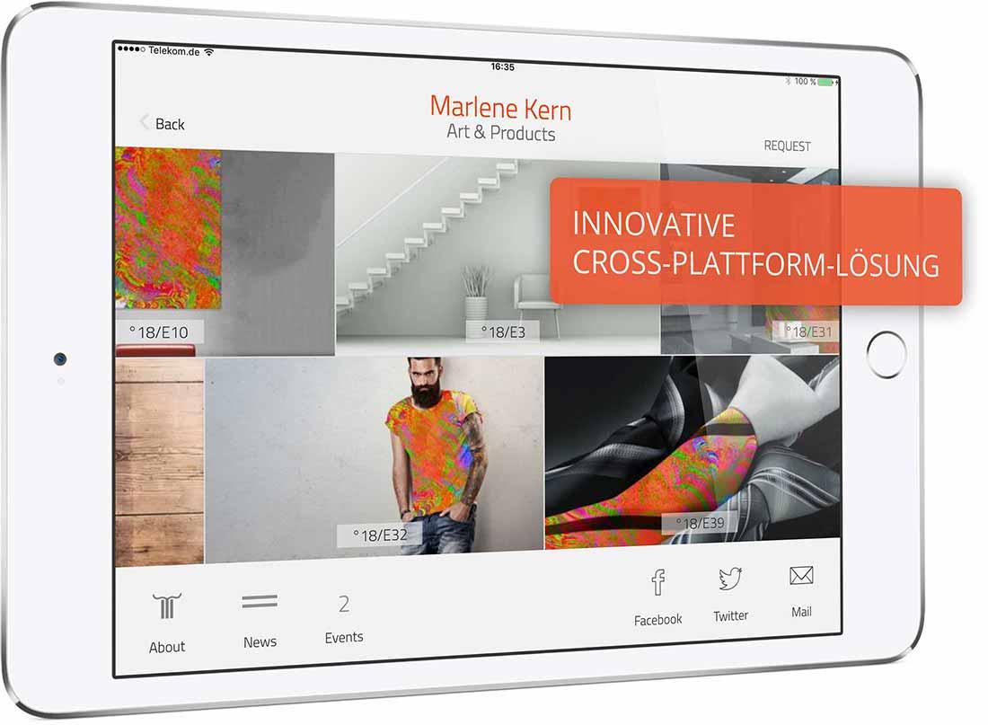 App-Template. Sie sehen das App-Template, für das Sie eine Lizenz erwerben können. Am Beispiel der iPad App »Marlene Kern. Art & Products« können Sie Funktionen und Features erkunden. Downloaden Sie die Präsentations-App kostenfrei im App Store.