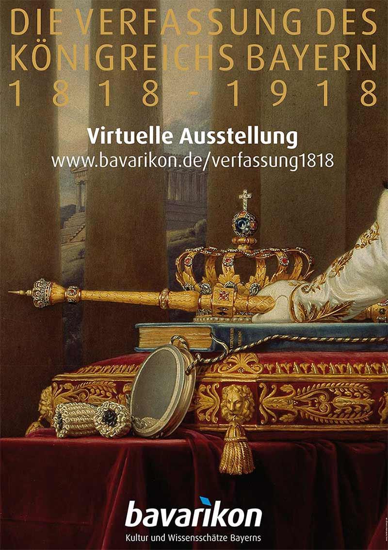 Visuelle Identität. Sie sehen das von Marlene Kern Design gestaltete Plakat zur Bewerbung der für eine virtuelle Ausstellung des bayerischen Internetportals bavarikon