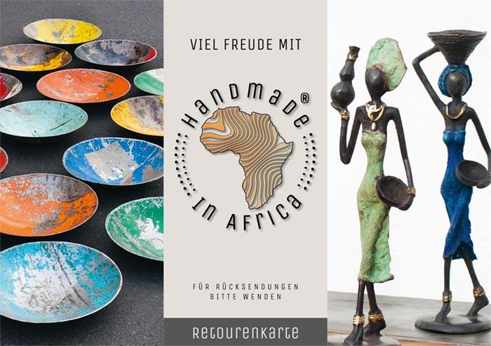 Markenauftritt Shop – Sie sehen das Markenlogo für das Online Unternehmen »Handmade in Africa«. Wir gestalteten dafür das Erscheinungsbild. Hier sehen Sie die Retourenkarte.