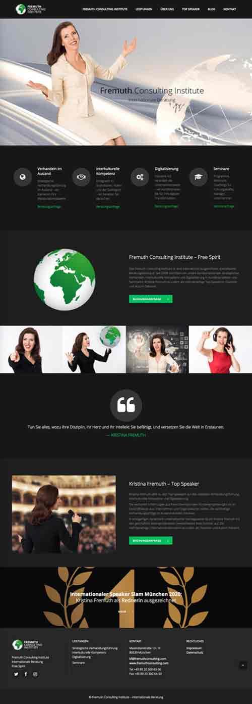 Webagentur – Marken & Web Agentur München. Marlene Kern Design erstellt Website und Markenauftritt für das Internationale Beratungsunternehmen Kristina Fremuth Consulting.