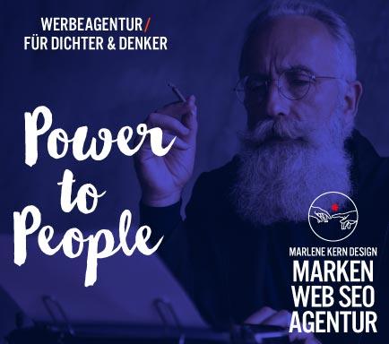 Webdesign Werbeagentur Marlene Kern Design Responsive Websites, Design, Texte erstellen, Inhalte, Suchmaschinenoptimieren Kampagne Power to People für Dichter und Denke